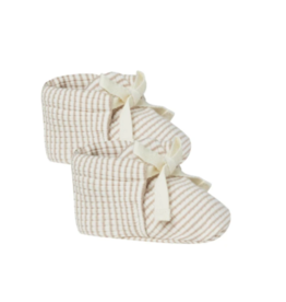 Quincy Mae Ribbed Baby Booties Ash Stripe