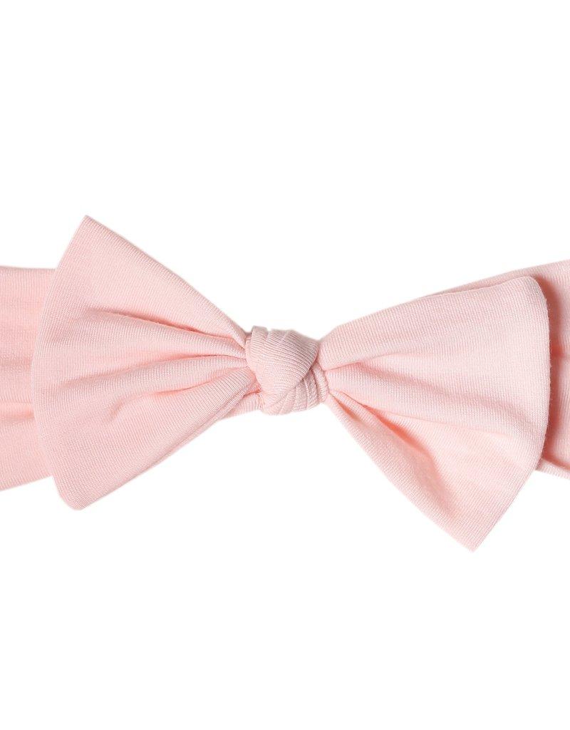 Copper Pearl Knit Headband Bow Blush
