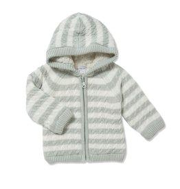 Angel Dear Sherpa Zip Hoodie Grey Stripe