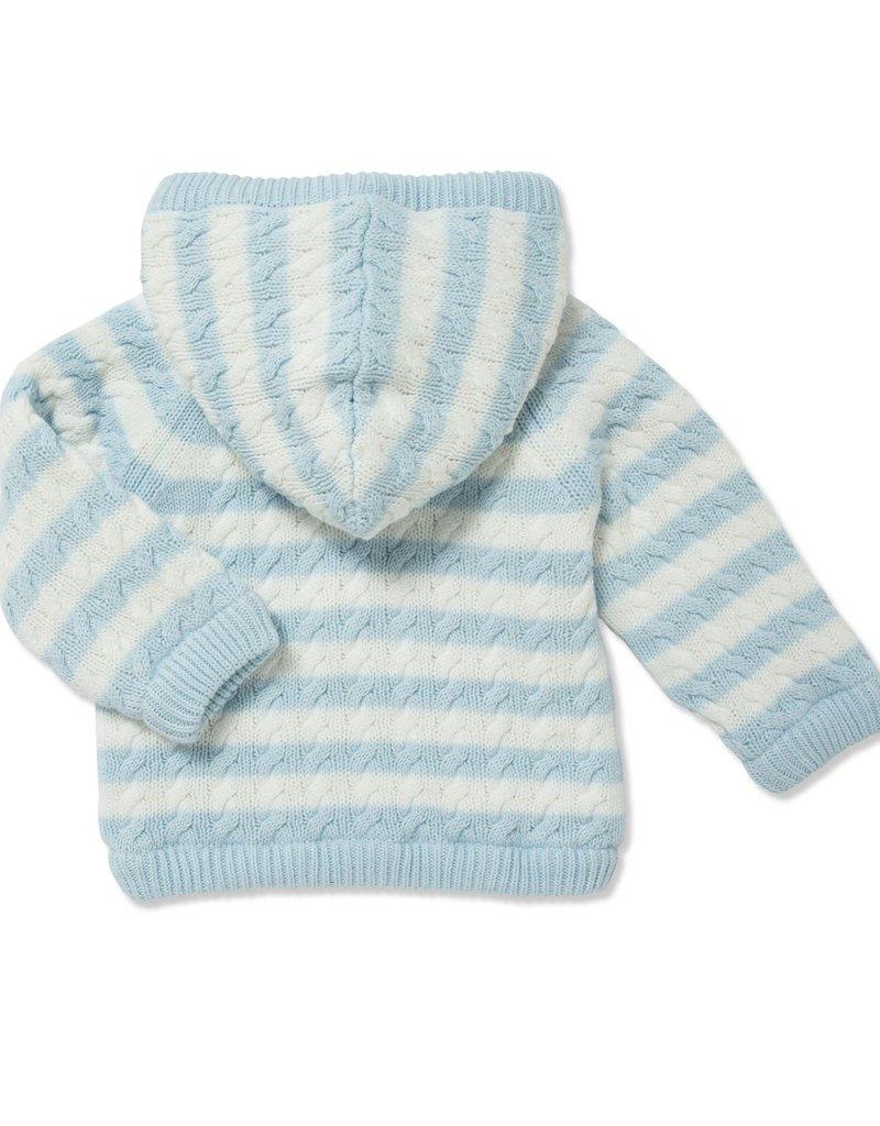Angel Dear Sherpa Zip Hoodie Pale Blue Stripe