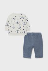 Mayoral Fleece Pants Set w/Smiley Bears Indigo