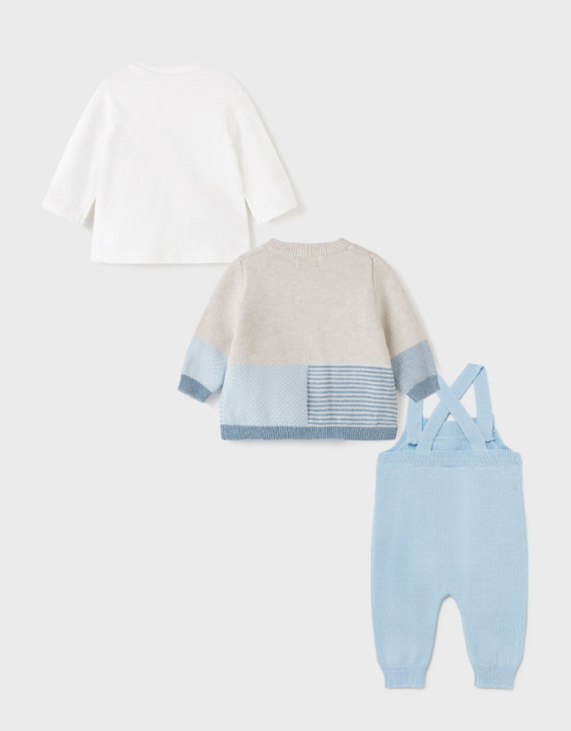 Mayoral Knit 3pc Sweater Dungarees Set