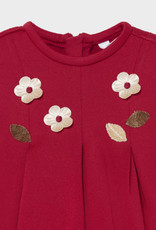 Mayoral Red Knit Dress w/ Applique Flowers