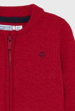 Mayoral Basic Red Knit Zip Up Sweater