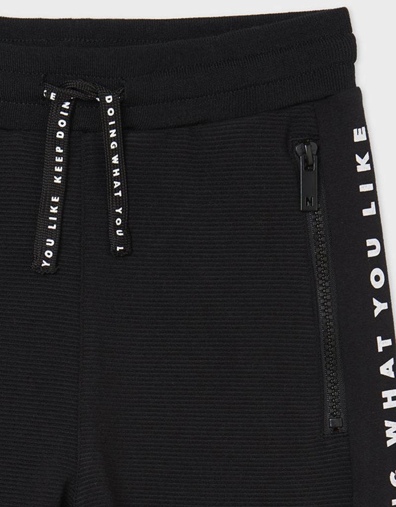Mayoral Black Fleece Ottoman Pants