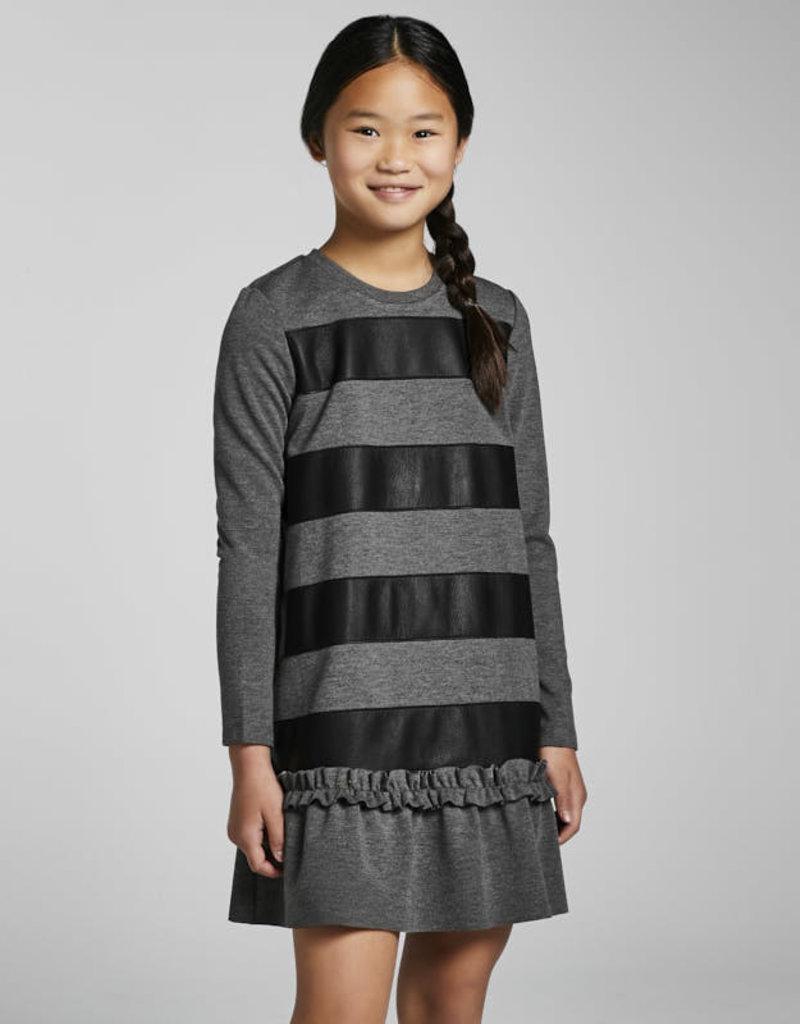Mayoral Black Leather Stripe Dress