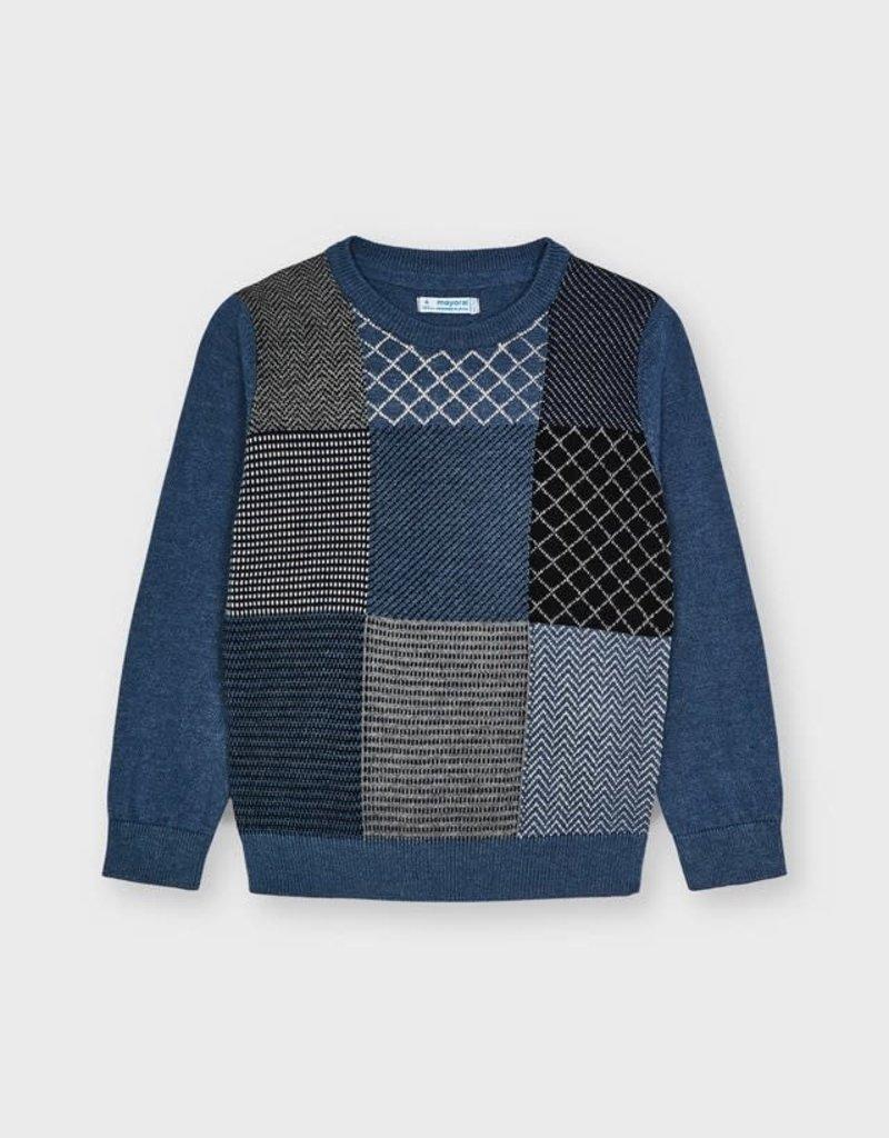 Mayoral Indigo Patchwork Sweater