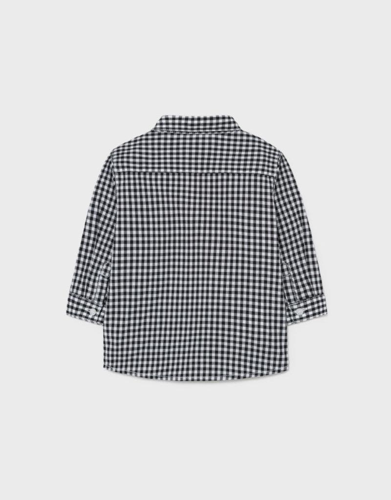 Mayoral L/S Poplin Charcoal Check Shirt