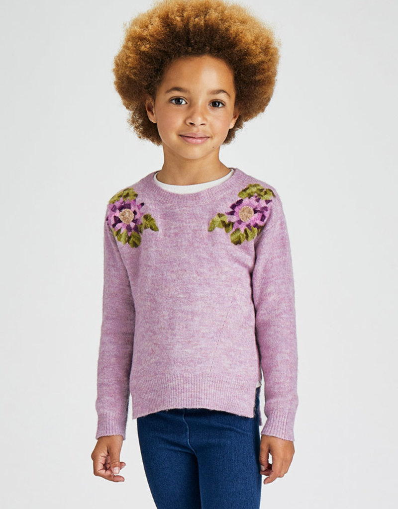 Mayoral Lilac Floral Sweater