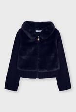Mayoral Navy Furry Knit Sweater