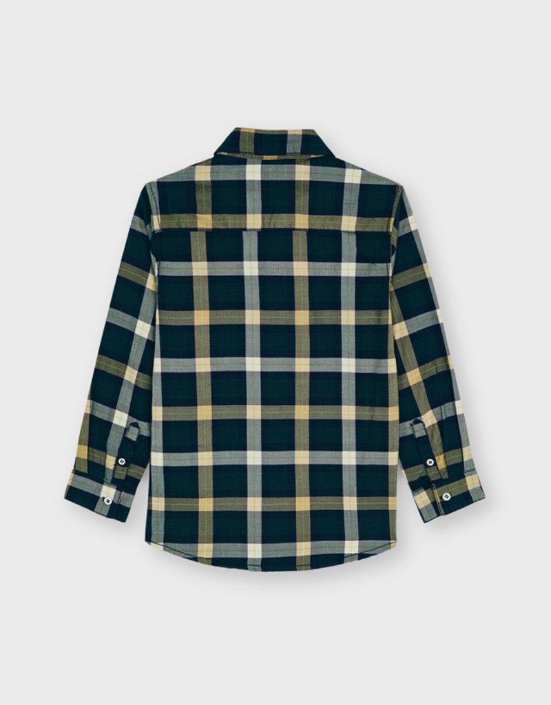 Mayoral Navy/Yellow L/S Small Plaid Shirt