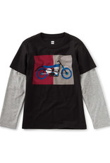 Tea Collection Motorcycle Layered Graphic Tee Black