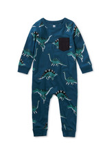 Tea Collection Printed Pocket Romper Dynamic Dino