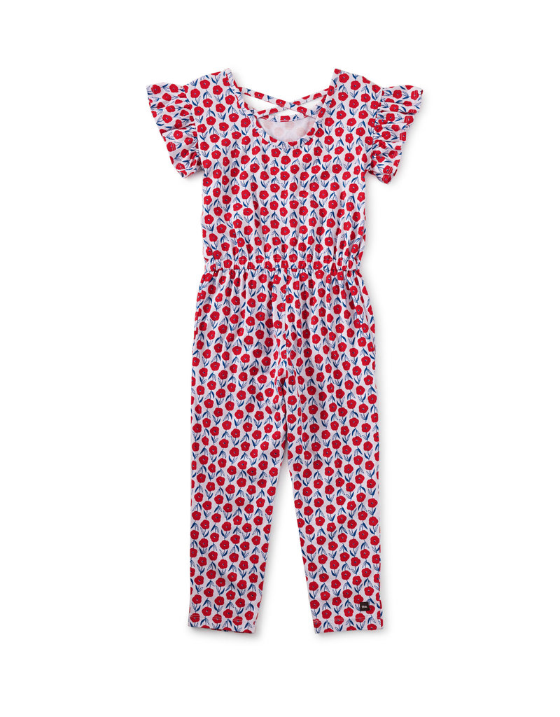 Tea Collection Scoop Back Ruffle Jumpsuit Blush Bloom