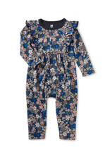 Tea Collection Snap Front Ruffle Romper Swedish Bouquet