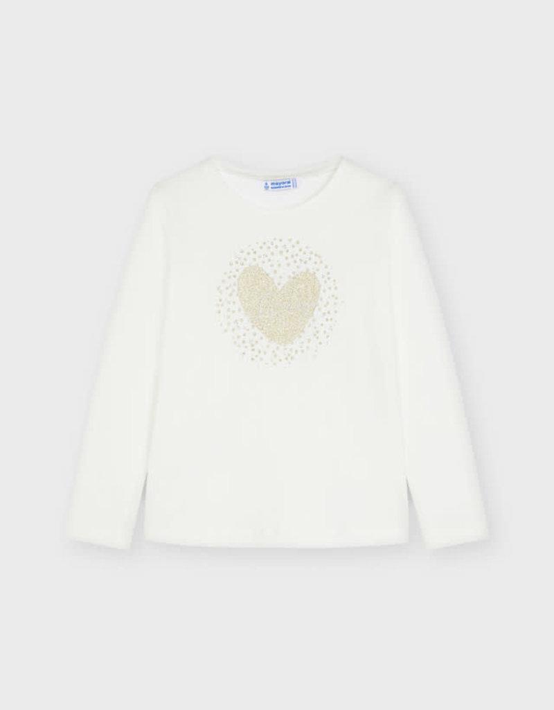 Mayoral L/S Heart Sequin Tee