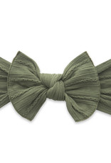 Baby Bling Bow Cable Knit Knot Bow Army Green