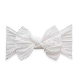 Baby Bling Bow Cable Knit Knot Bow White