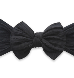 Baby Bling Bow Cable Knit Knot Bow Black