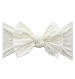 Baby Bling Bow Patterned Shabby Knot Ivory Dot