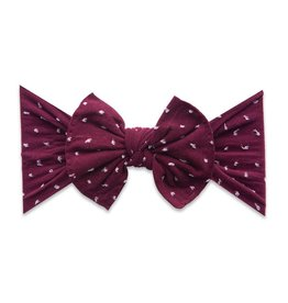 Baby Bling Bow Patterned Shabby Knot Burgandy Dot