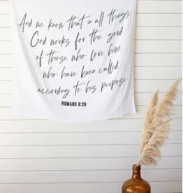 Modern Burlap Muslin Swaddle Blanket - Romans 8:28