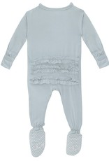 Kickee Pants Solid Classic Ruffle Footie w/Zip Illusion Blue