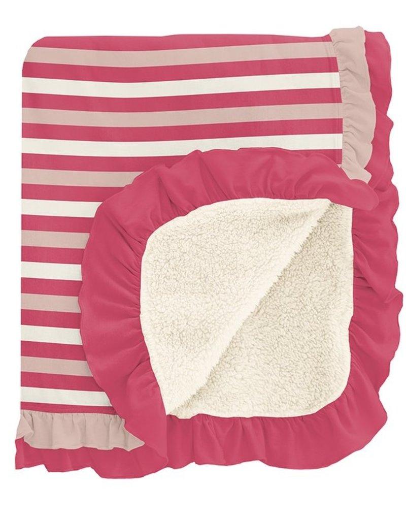 Kickee Pants Print Sherpa Lined Double Ruffle Stroller Blanket Hopscotch Stripe