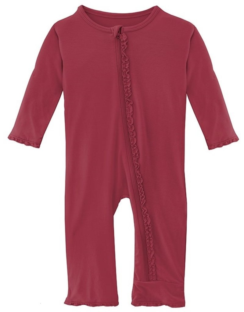 Kickee Pants Solid Classic Ruffle Coverall w/Zip Wild Strawberry