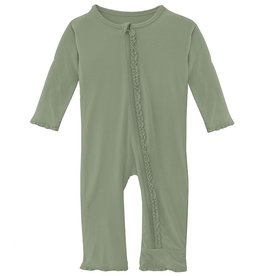 Kickee Pants Solid Classic Ruffle Coverall w/Zip Silver Sage