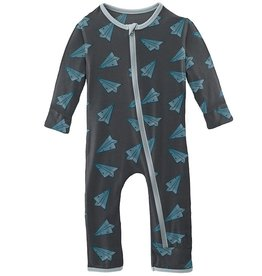 Kickee Pants Print Coverall w/Zip Lined Paper Airplane