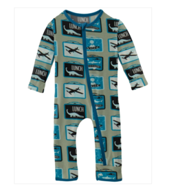 Kickee Pants Print Coverall w/Zip Silver Sage Lunchbox
