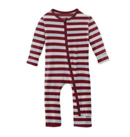 Kickee Pants Print Coverall w/Zip Playground Stripe
