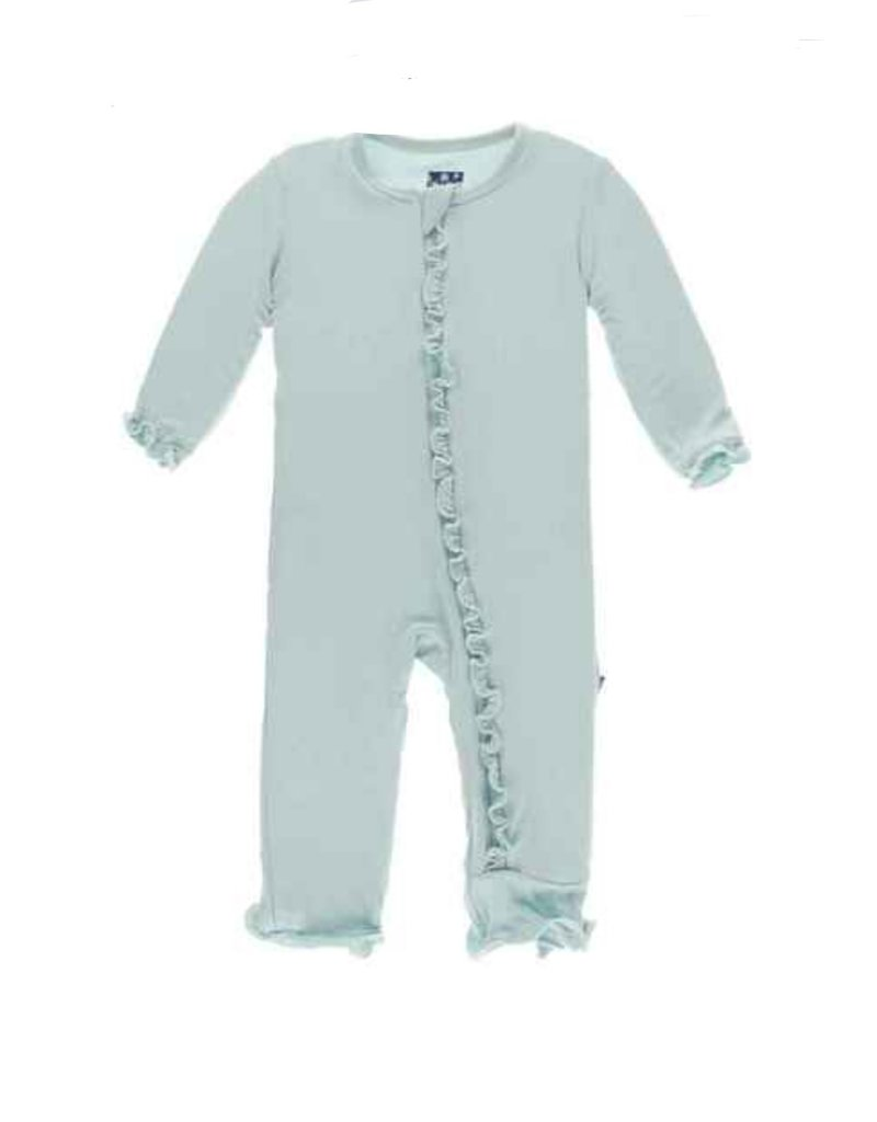 Kickee Pants Solid Classic Ruffle Coverall w/Zip Illusion Blue