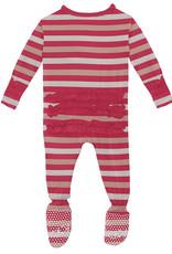 Kickee Pants Print Classic Ruffle Footie w/Zip Hopscotch Stripe