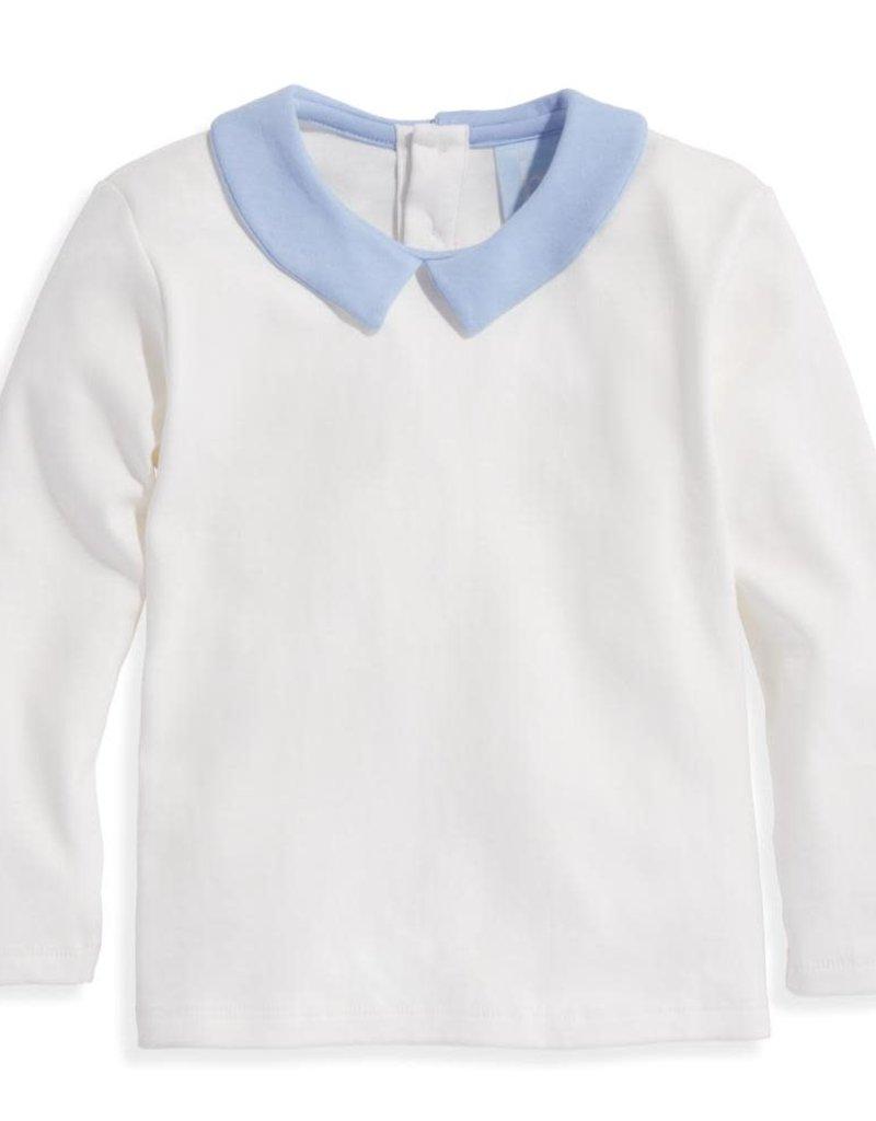 bella bliss Wyatt Pima Shirt Ivory/Blue