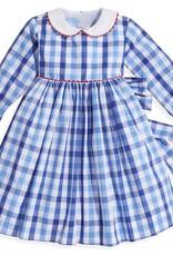 bella bliss L/S Peter Pan Dress Sapphire Check
