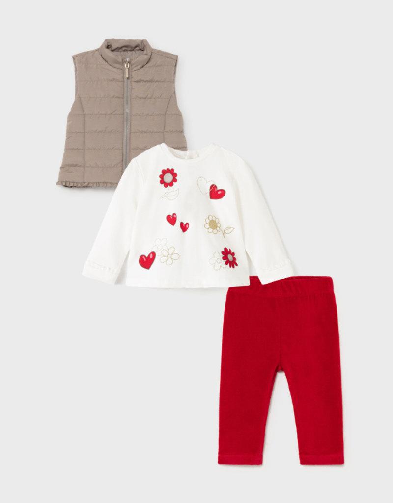 Mayoral Heart Print Tee w/Vest Legging Set Red