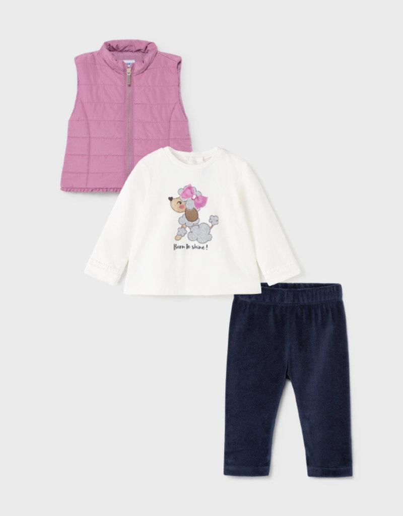 Mayoral Poodle Print Tee w/Vest and Legging Set