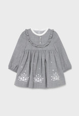 Mayoral Silver Embroidered Flannel Dress