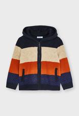 Mayoral Orange Knit Colorblock Zip Up Sweatshirt