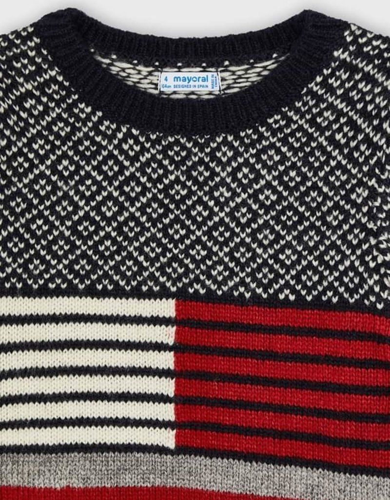 Mayoral Red Mix Block Sweater
