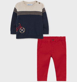 Mayoral Blue Sweater w/Bike and Red Pant Set