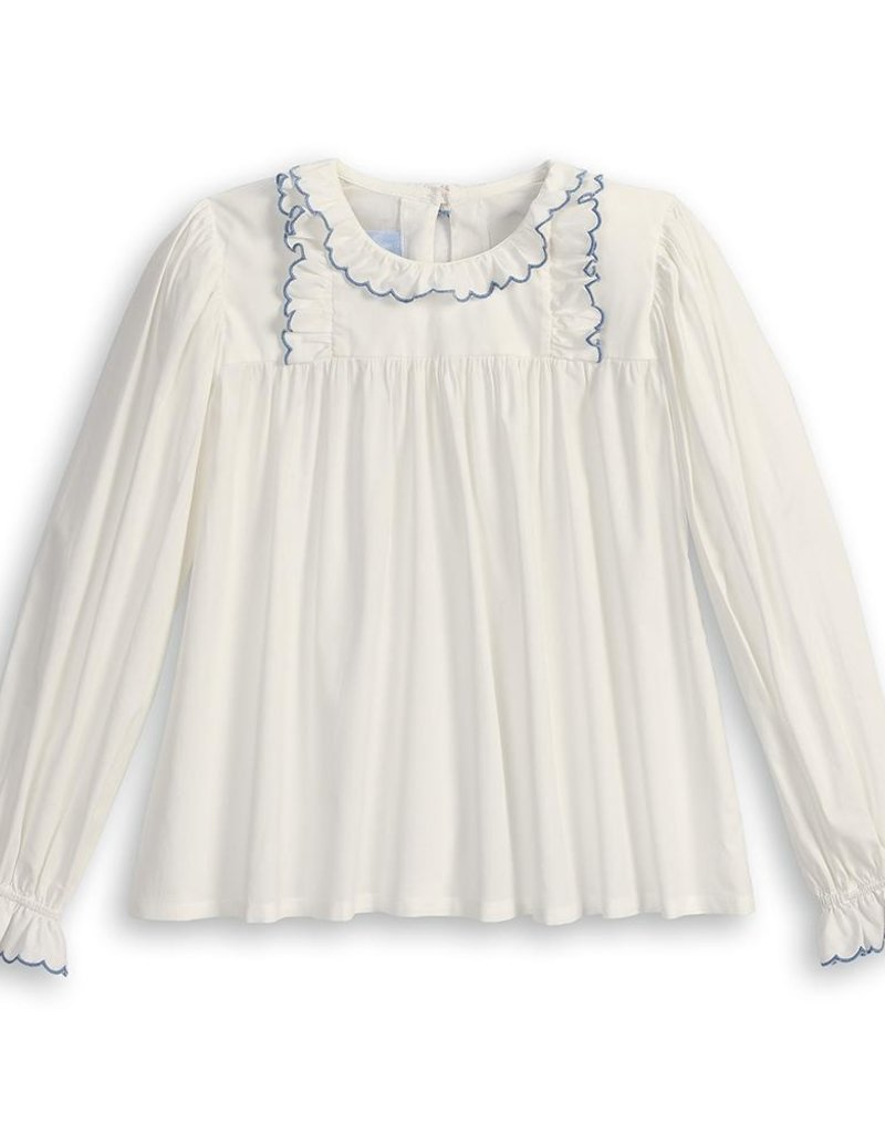 bella bliss Lucille Ruffled Blouse Ivory