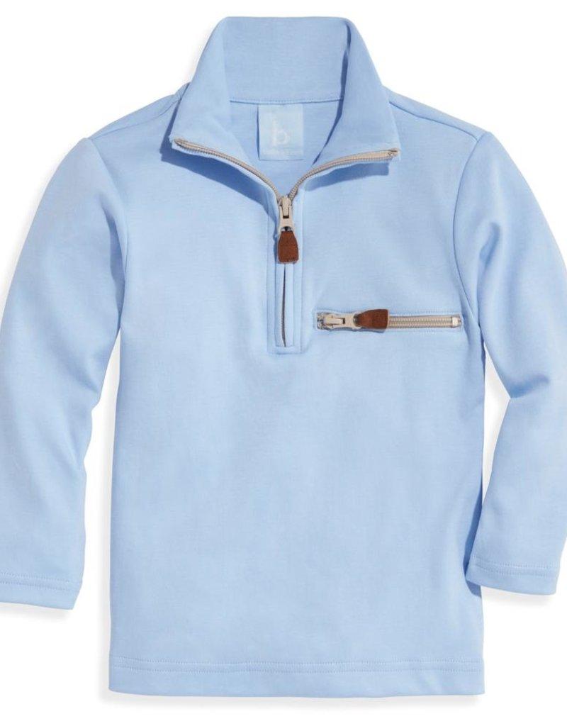 bella bliss Pima 1/2 Zip w/Pocket Blue w/Khaki