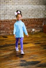 Florence Eiseman Knit Leggings Purple Heart/Flowers