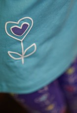 Florence Eiseman Mock Neck Top Blue w/Heart Flower