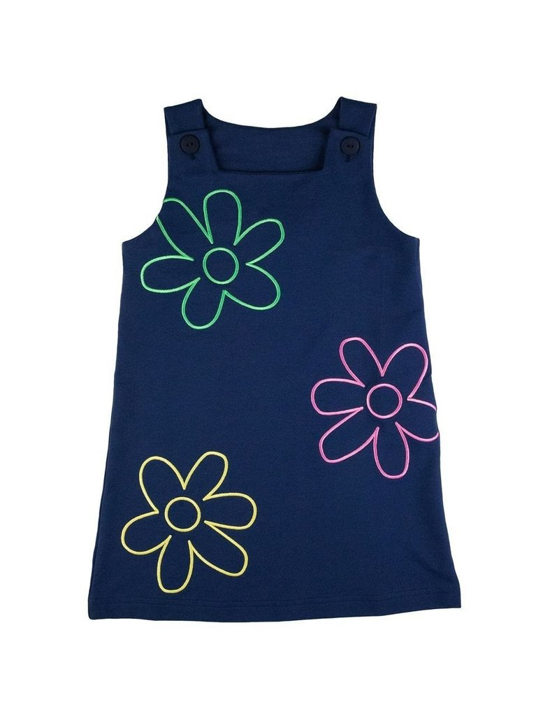 Florence Eiseman Navy French Terry Jumper w/Flower Outline