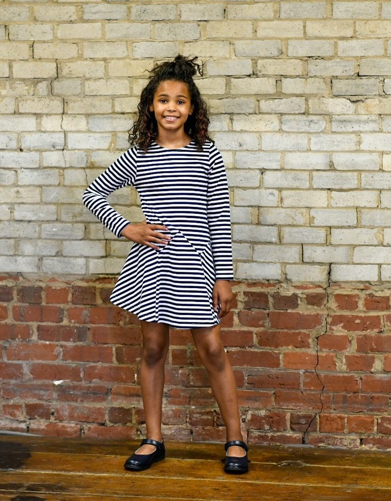 Florence Eiseman Stripe Knit Dress Navy/White