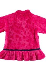 Florence Eiseman Bright Pink Heart Fleece Top w/Flowers